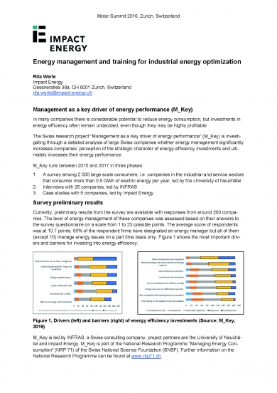 """Management as a key driver of energy performance (M_Key)"" (Motor Summit 2016)"